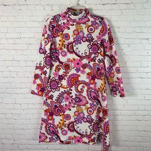 Vintage 70's Hippie Mod Paisley Dress Size 10